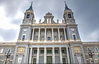 Facade of Cathedral of la Almudena, Madrid, Spain.