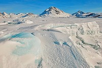 Greenland frozen ice and mountains.