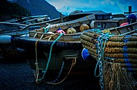 Marlinspike on bow of idle purse seiner skiff near Sitka, Alaska, USA.