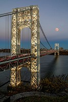 George Washington Bridge Moon Rising - New York City´s landmark, the George Washington Bridge along with a full moon during the blue hour.