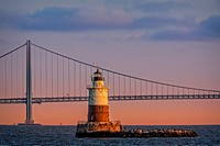 Robbins Reef Light and Verrazano Narrows Bridge - The Robbins Reef Light Station lighthouse located off Constable Hook in Bayonne and along the west s...