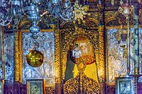 Greek Orthodox Icons Church of the Nativity Altar Nave Bethlehem West Bank Palestine. Chruch located above cave/grotto where Jesus was born. Location ...
