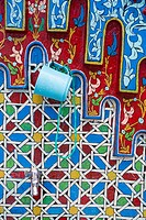 Chefchaouen, Morocco. Public Water Tap in the Medina Decorated with Floral and Geometric Designs.