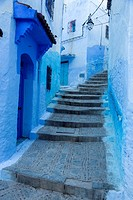 Chefchaouen, Morocco. Narrow Street on a Hill in the Medina.