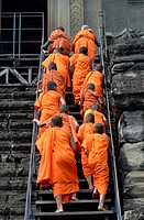 Buddhist monks,Angkor Wat, Cambodia,Indochina,Southeast Asia,Asia.