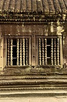 Columns at window,Angkor Wat,Cambodia,Indochina,Southeast Asia,Asia.