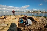 Punic archaeological site, Na Galera islet, Can Pastilla, Palma, Mallorca, balearic islands, spain, europe