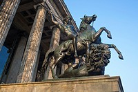 Statue of a rider on a horse in front of the Altes Museum, Berlin, Germany.