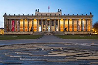 Night view of Altes Museum in Lustgarten in Mitte, Berlin, Germany.