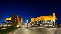 Night view of Berlin Philharmonie concert halls, home of Berlin Philharmonic orchestra in Berlin, Germany.