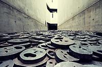 "Memory Void containing work """"Fallen Leaves"""" by artist Menashe Kaddishman at Jewish Museum , in Berlin, Germany (Leerstelle des Gedenkens)."