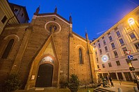 Turin in Piedmont on September 2016 in Italy. St Domenico church by night.