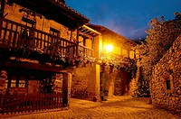 Street at night. Barcena Mayor, Cantabria, Spain.