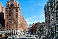 New York City, Manhattan. Looking East at West 23rd Street, at the Intersection of 10th Avenue.