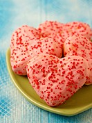 Heart shaped donuts.
