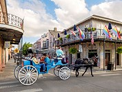 United States, Louisiana, New Orleans, French Quarter. Horse-drawn carriage and buildings on Dauphine St.