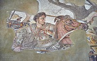 Alexander the Great from the Roman mosaic of Battle beween Alexander the Great and Persian King Darius, 120-125 BC, Casa del Fauno, Pompeii, inv 10020...