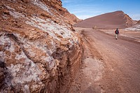 Valle de la Luna (Valley of the Moon ) near San Pedro de Atacama, and salt deposited on the ground , in background `Duna Mayor´, Atacama desert. Regio...
