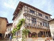 Stone architecture in Perouges, France, a medieval walled town near Lyon on August 19, 2016