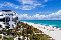 Florida, Miami Beach, sand, Atlantic Ocean, surf, overhead aerial view, Faena House, luxury condominium, hotel,