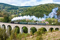 steam train on viaduct Novina, Krystofovo Valley, Czech Republic.