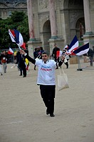 Macron supporters celebrate his victory outside the Louvre museum in Paris,France.