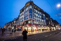 Corner of Castle Street and Princes Street in Edinburgh, Scotland in UK.