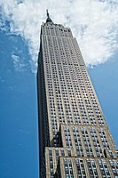 New York, NY, Manhattan. Looking up at the front of the Empire State Building.