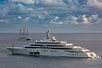 The $650,000 per week super yacht 'Naia' anchored outside the harbor of Gustavia, St Barths, French West Indies.