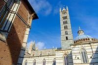 Facade of the Duomo, Siena, Tuscany, Italy Europe.