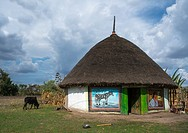 Painted house of alaba people, Kembata, Alaba Kuito, Ethiopia.