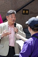 Seattle, Washington: State Senator Bob Hasegawa speaks to members of the media at the press conference announcing his candidacy for Mayor of Seattle o...