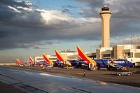 Denver, Illinois - Southwest Airlines planes at the passenger terminal at Denver International Airport.