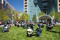Detroit, Michigan - Campus Martius Park in downtown Detroit, with the Compuware Building in the background.
