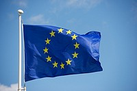 Closeup of the flag of the European Union waving.