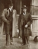 Mr. Hoover, left and Mr. Clynes, right. Food Controllers respectively for England and America during World War I, seen here in 1917. Herbert Clark Hoo...