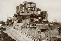 The battleship Vindictive returns to Dover after the raid on Zeebrugge in 1918 during World War One. From The Story of 25 Eventful Years in Pictures p...