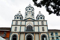 Church in the central plaza in Filandia, Colombia, South America.