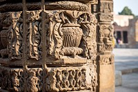 Close up details of the Qutub Minar, the world's tallest minaret structure. Located in New Delhi, India.