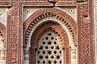 Ornate detail from medieval monuments that surround Qutub Minar, located on the Qutub complex in New Dheli, India.