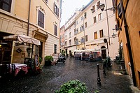 Cityscape in wet Rome Italy