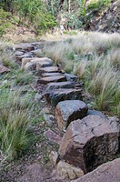 Stepping stones on the Anakie Gorge track, Brisbane Ranges National Park, west of Melbourne, Victoria, Australia.