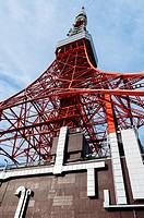 Tokyo tower from down. Second tallest building in Japan inspired by Paris Eiffel tower, Tokyo, Japan.