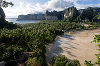 Panoramic view of Railay near Krabi in Thailand from the viewing point. Railay, also known as Rai Leh, is a small peninsula between the city of Krabi ...