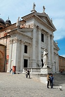 The facade of the cathedral in Urbino, Marche region, Italy.