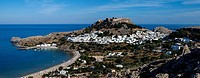 A Panoramic View Of The Town Of Lindos, Rhodes, Greece.