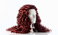 Mannequin Male Head with Alonge Wig on White.