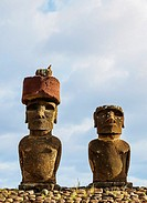 Moais in Ahu Nau Nau by the Anakena Beach, Rapa Nui National Park, Easter Island, Chile.
