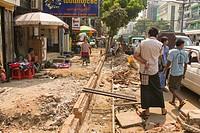 A sidewalk in the middle of being repaired. . Yangon, Myanmar.