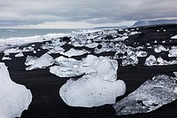 Glacial ice formation on an Icelandic beach by the Jokulsarlon lagoon.